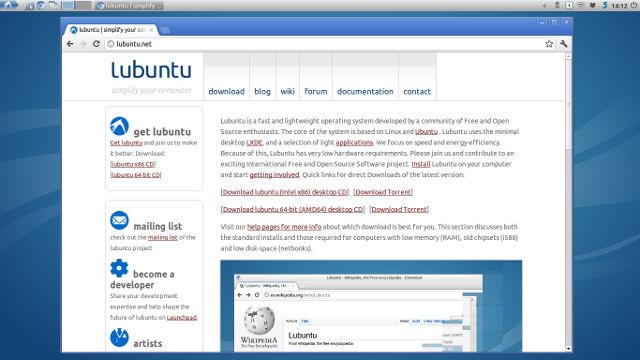 Lubuntu12.04デスクトップ(ノートパソコン)