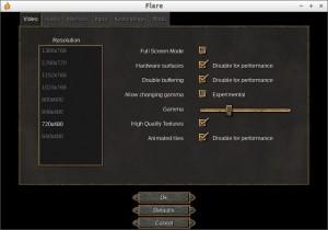 Flare V0.17 設定画面
