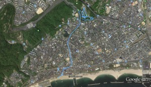 須磨海岸から離宮公園へのトラックデータ
